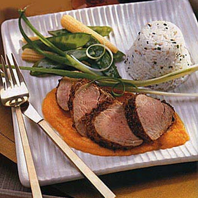 Coriander Pork Tenderloin with Carrot-Ginger Sauce