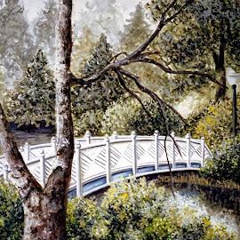 Bridge Over Quiet Waters by Jennifer Wheatley-Wolf - Painting All Painting ( water, jennifer wheatley-wolf, trees, waercolor, bridge, painting )