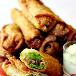 Taco Egg Rolls with Avocado Cream Sauce