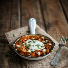 Spiced Sweet Potato and Goat Cheese Egg Skillet