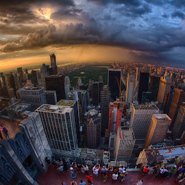 Storm over Central Park, NYC by Douglas Simkin - City,  Street & Park  Skylines ( rockefeller, park, hdr, storm, central park, central )