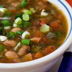 Spicy Pinto Bean Soup with Ham, Tomatoes, and Cilantro