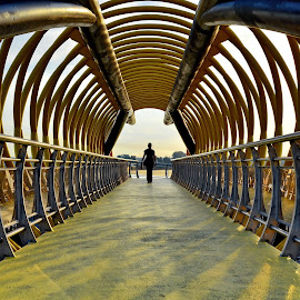 bridge by Alexandru Olteanu - Buildings & Architecture Bridges & Suspended Structures ( walking, structure, girl, lines, bridge )
