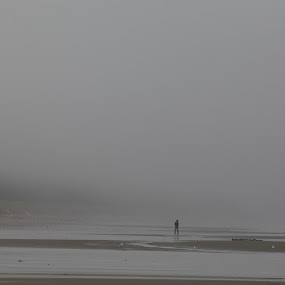 summer fog by Geoff Soper - Landscapes Beaches ( sand, fog, man with a dog, beach, mist )