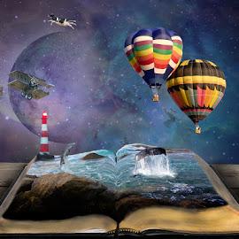 Open Your Mind by Charlene Baltzell - Digital Art Abstract ( hot air balloon, dream, digital art, lighthouse, imagination )