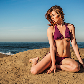 Shelby by Charles Lugtu - People Portraits of Women ( natural light, ocean beach, california girl, bikini, beach, sunrise,  )