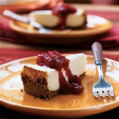 Cheesecake with Cranberry-Maple Topping
