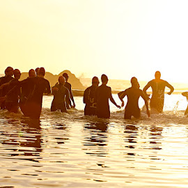 Group Swim by Craig Brandenburg - Sports & Fitness Swimming ( open water, sunset, ocean, swimming, wetsuit )