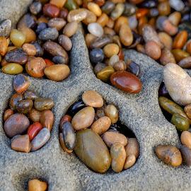 Pocket Rocks #2 by Jim Downey - Nature Up Close Rock & Stone ( macro, sandstone cavities, colors, tumbled, beach pebbles, pescadero )
