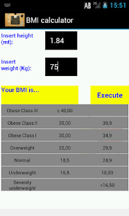 BMI Calcolatore - screenshot