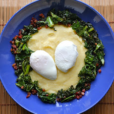 Poached Eggs with Polenta, Braised Kale & Pancetta