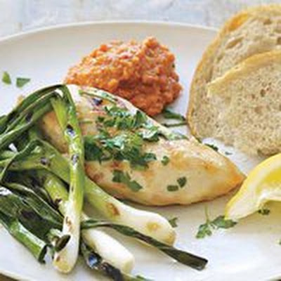 Chicken and Scallions with Smoky Romesco