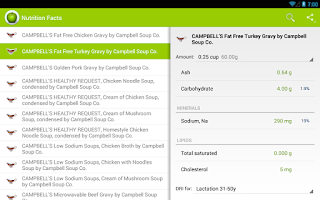 Screenshot of Nutrition Facts