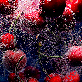 Cherries in water by Roman Kolodziej - Food & Drink Fruits & Vegetables ( Food & Beverage, meal, Eat & Drink )