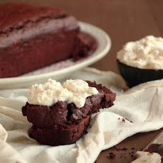 Red Wine Chocolate Cake with Honey Mascarpone Whipped Cream