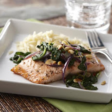 Honey Lemon Glazed Salmon with Spinach Sauté