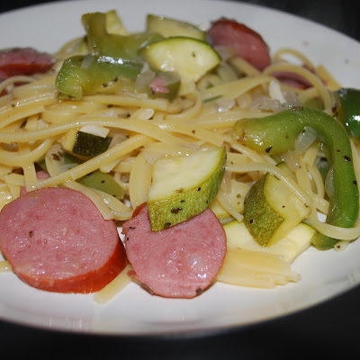 Linguini with Zucchini and Kielbasa