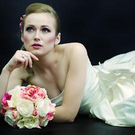 by Monika Schaible - Wedding Bride ( flower bouquet, monika schaible, wedding dress, bride )