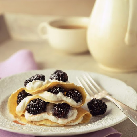 Cornmeal Crepes with Fresh Buttermilk Cheese and Blackberries