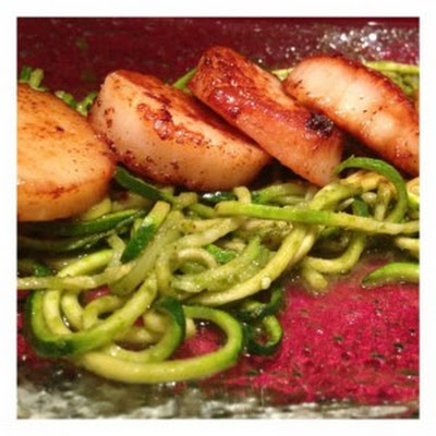 Diver Scallops over Pesto Zucchini Noodles