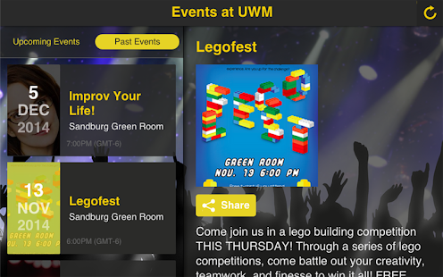 Events at UWM - screenshot