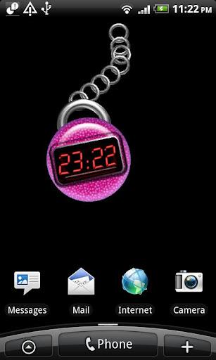 紫色のデジタル時計
