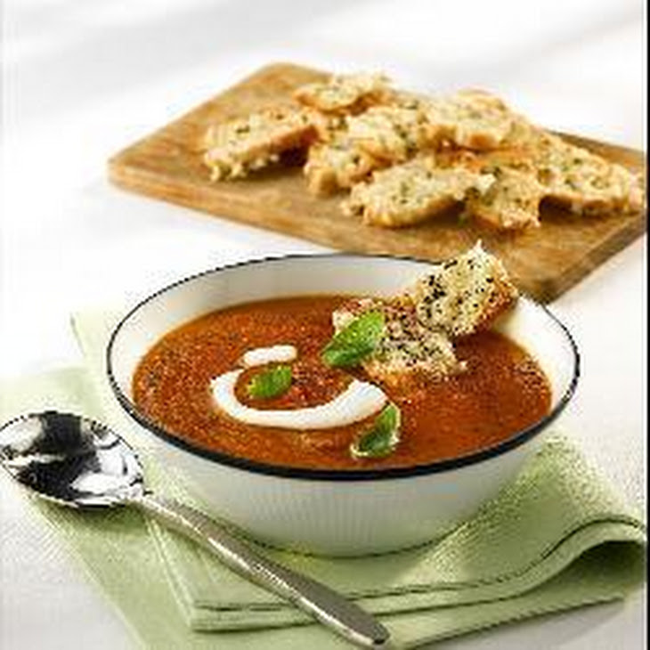 Roast Tomato Soup with Haricot Beans, Basil and Goats' Cheese Croutons