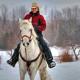 Horse back riding by Suzanne Blais - Sports & Fitness Other Sports ( horse rider canadian-horse winter snow auberge-andromède courcelles québec canada )