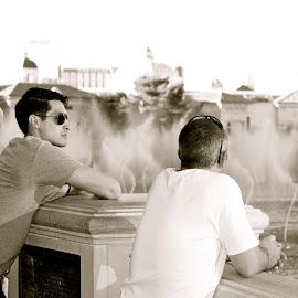 Spectators, Vegas by Greg Koehlmoos - City,  Street & Park  Street Scenes ( las vegas, vegas fountain show, street scenes, vegas, street photography )