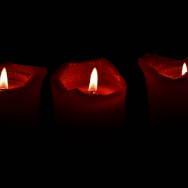 A Trio Of Reds by Toine Baken - Artistic Objects Other Objects ( life, red, background, candles, dark, still, fire, black, flame )