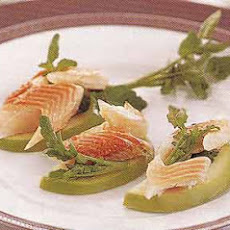 Smoked Trout and Watercress on Tart Apple Slices
