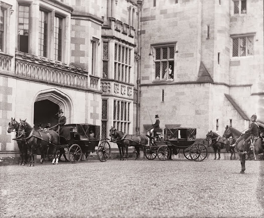 Landaus (a luxury society city carriage), outside Adare Manor, Co. Limerick. (POOLE IMP 527).