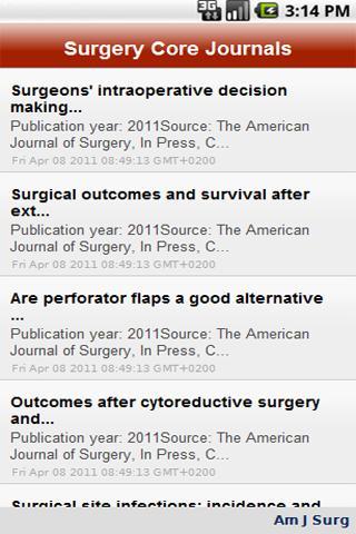 Surgery Core Journals
