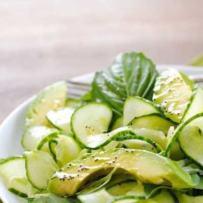 Cucumber & Avocado Salad with Tequila-Poppyseed Vinaigrette