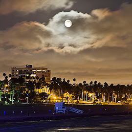 Moon Over Santa Monica by Sue Matsunaga - Novices Only Landscapes