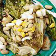 Grilled Escarole Caesar Salad with White Beans