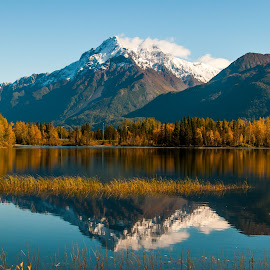 Mountain Reflections by Stephen Smith - Landscapes Mountains & Hills ( capped, reflection, mountains, fall, snow, lake, landscape )