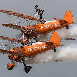 The Breitling Wingwalkers by Steve Lynes - Transportation Airplanes ( farnborough, farnborough international airshow 2014, brietling wingwalkers, boeing stearman, fia 2014 )