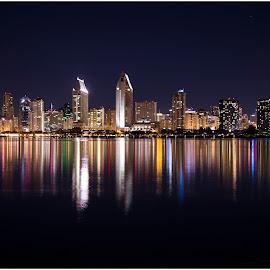 San Diego Skyline by Anupam Somkuwar - City,  Street & Park  Skylines ( san diego, skyline, night, long exposure, architecture, nightscape, city )