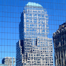 NYC Reflection by Donald Henninger - Novices Only Street & Candid ( mirror, mirrored reflections, skyline, memorial, skyscrapers, buildings, reflections, street scene, cityscape, new york city )