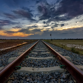 Into the distance  by Liquid Lens - Transportation Railway Tracks