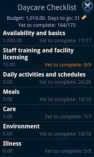 Daycare Checklist