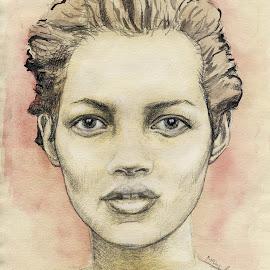 Kate Moss Sketch by Matthäus Rojek - Drawing All Drawing ( pencil, kate moss sketch, watercolor, sketch, model, beautiful, ikone, 120min, 2 hours, drawing, kate moss )