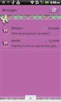 Screenshot of GO SMS THEME/PlaidButterflys4