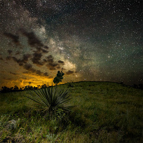 Pike Haven Milky Way by Aaron Groen - Landscapes Starscapes ( clouds, pike haven resort, art, pierre, south dakota, milky way, milky way galaxy, pike haven, flashlight, lake oahe, stars, dark, 16-35 l ii usm, galaxy )
