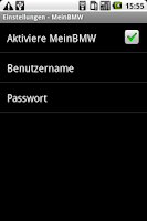 Screenshot of WebSMS: MeinBMW Connector
