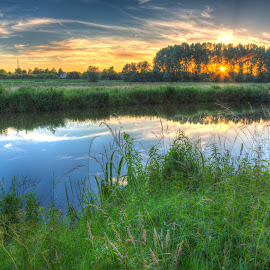 River Dender near Aalst by Guido Vanderweeën - Landscapes Travel ( sunset, belgium )