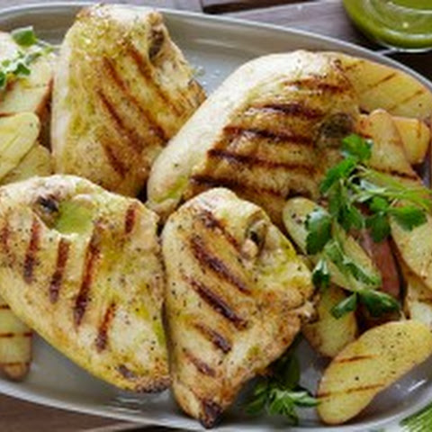 Grilled Chicken with Roasted Garlic-Oregano Vinaigrette and Grilled ...