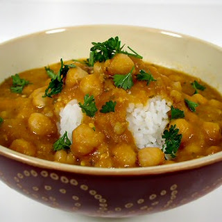 Chickpeas and Barley in Red Lentil and Eggplant Sauce