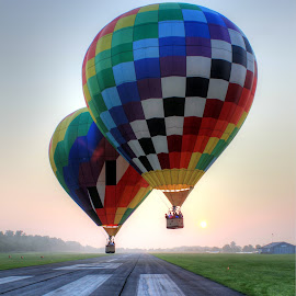 Sunrise Liff Off by Guy Harnett - Transportation Other ( airport, hot air balloon, fall, runway, sunrise, balloon )